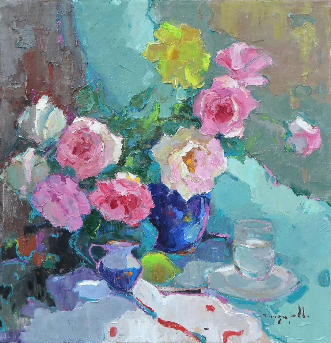 冷暖的色彩碰撞,迷人的静物与花卉作品!插图106
