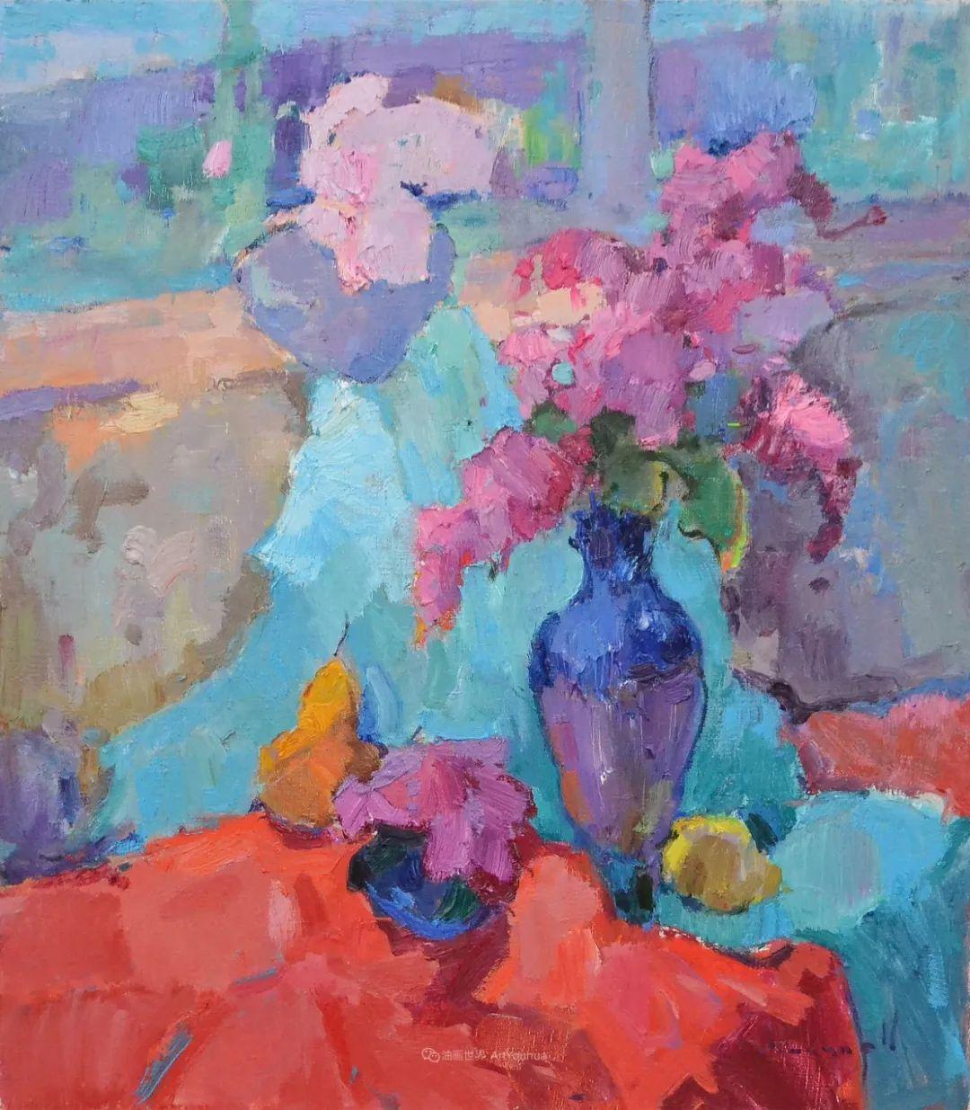 冷暖的色彩碰撞,迷人的静物与花卉作品!插图120