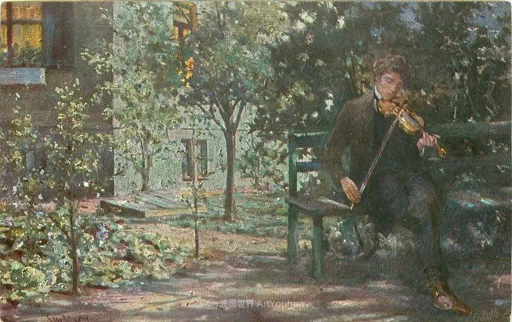 沉浸在浪漫生活和艺术氛围中,德国画家弗朗茨·吉勒里作品插图61