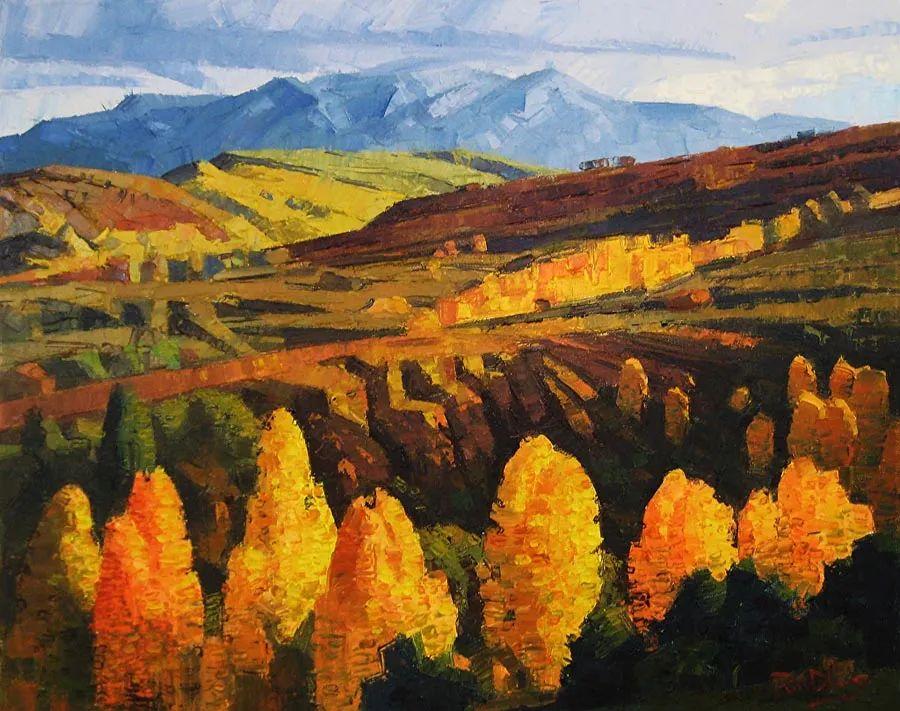大胆的笔触色彩、美丽的具象风景插图3