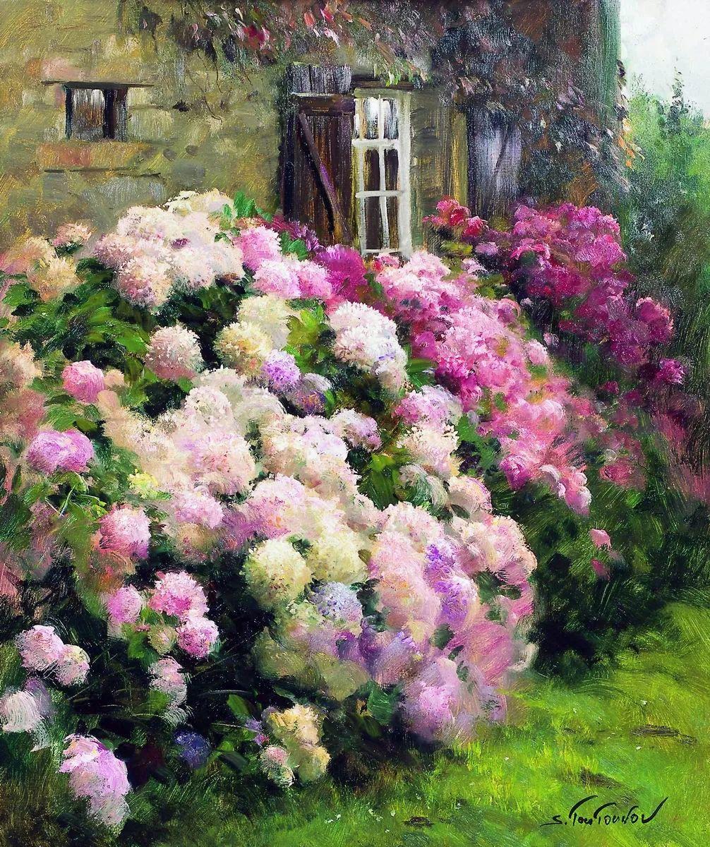 花香袭人,绚丽多彩!俄罗斯画家谢尔盖·图图诺夫插图1