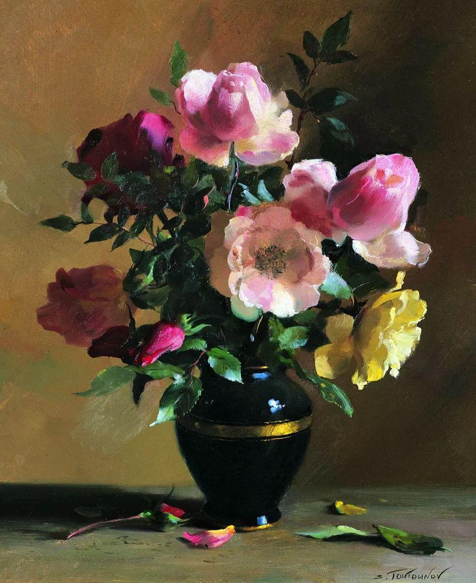 花香袭人,绚丽多彩!俄罗斯画家谢尔盖·图图诺夫插图3