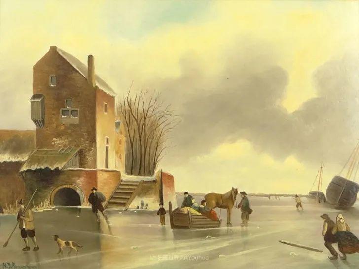 浪漫主义风景画,荷兰画家尼古拉斯·鲁森博姆插图33
