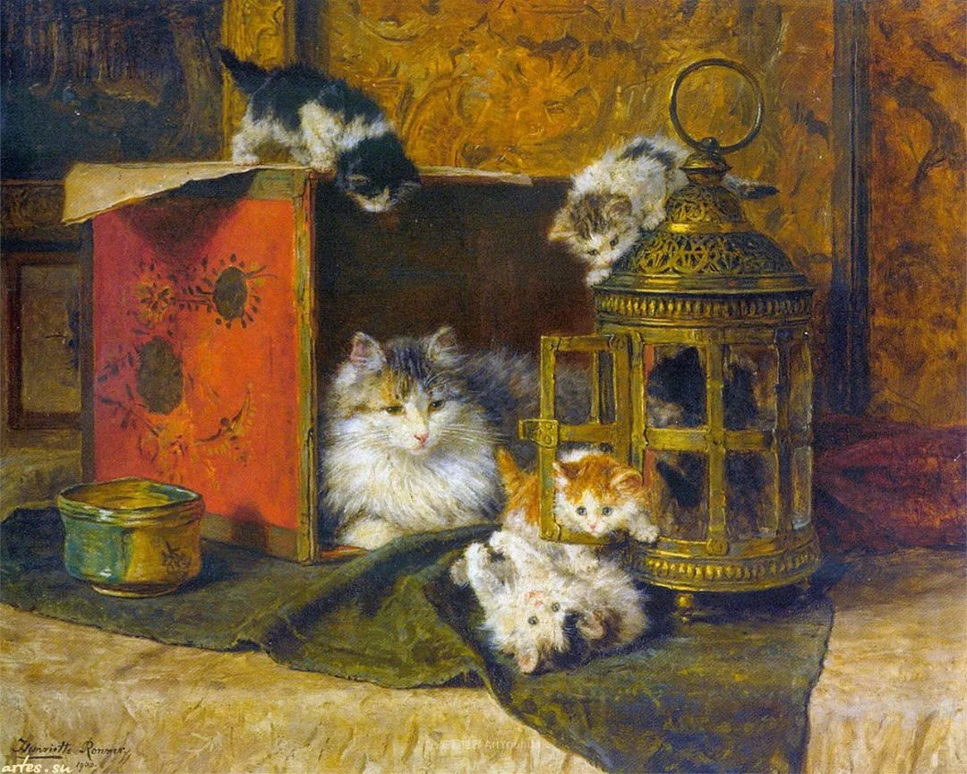 100年前她画了超多猫,姿态万千,惟妙惟肖插图3