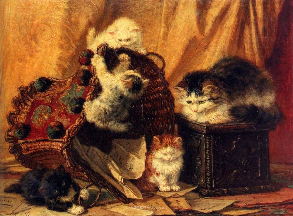 100年前她画了超多猫,姿态万千,惟妙惟肖插图47