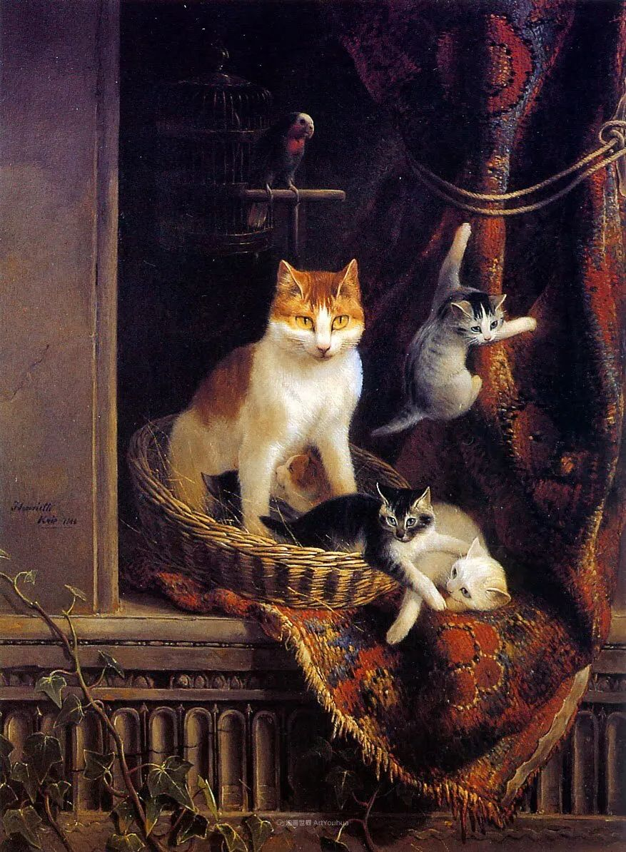 100年前她画了超多猫,姿态万千,惟妙惟肖插图49