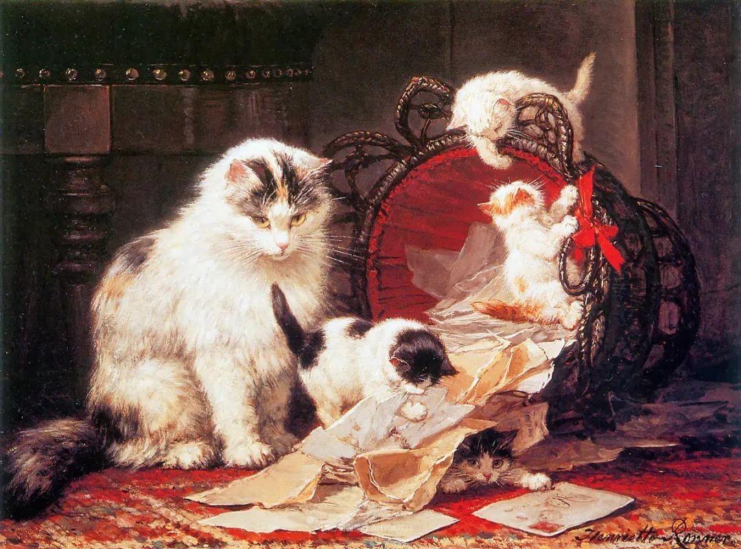 100年前她画了超多猫,姿态万千,惟妙惟肖插图55