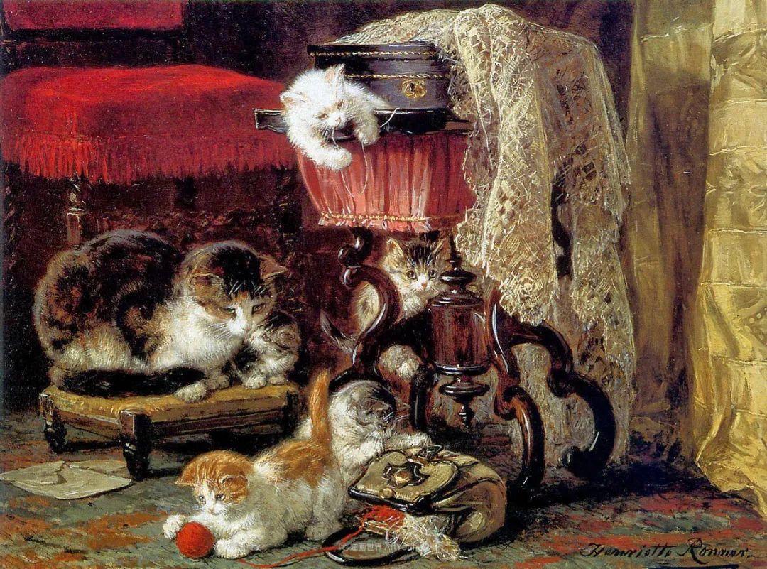 100年前她画了超多猫,姿态万千,惟妙惟肖插图87