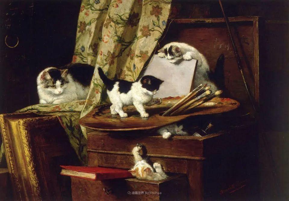 100年前她画了超多猫,姿态万千,惟妙惟肖插图95