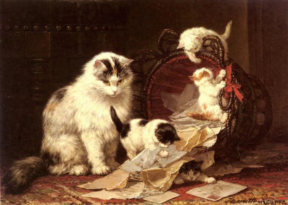 100年前她画了超多猫,姿态万千,惟妙惟肖插图99