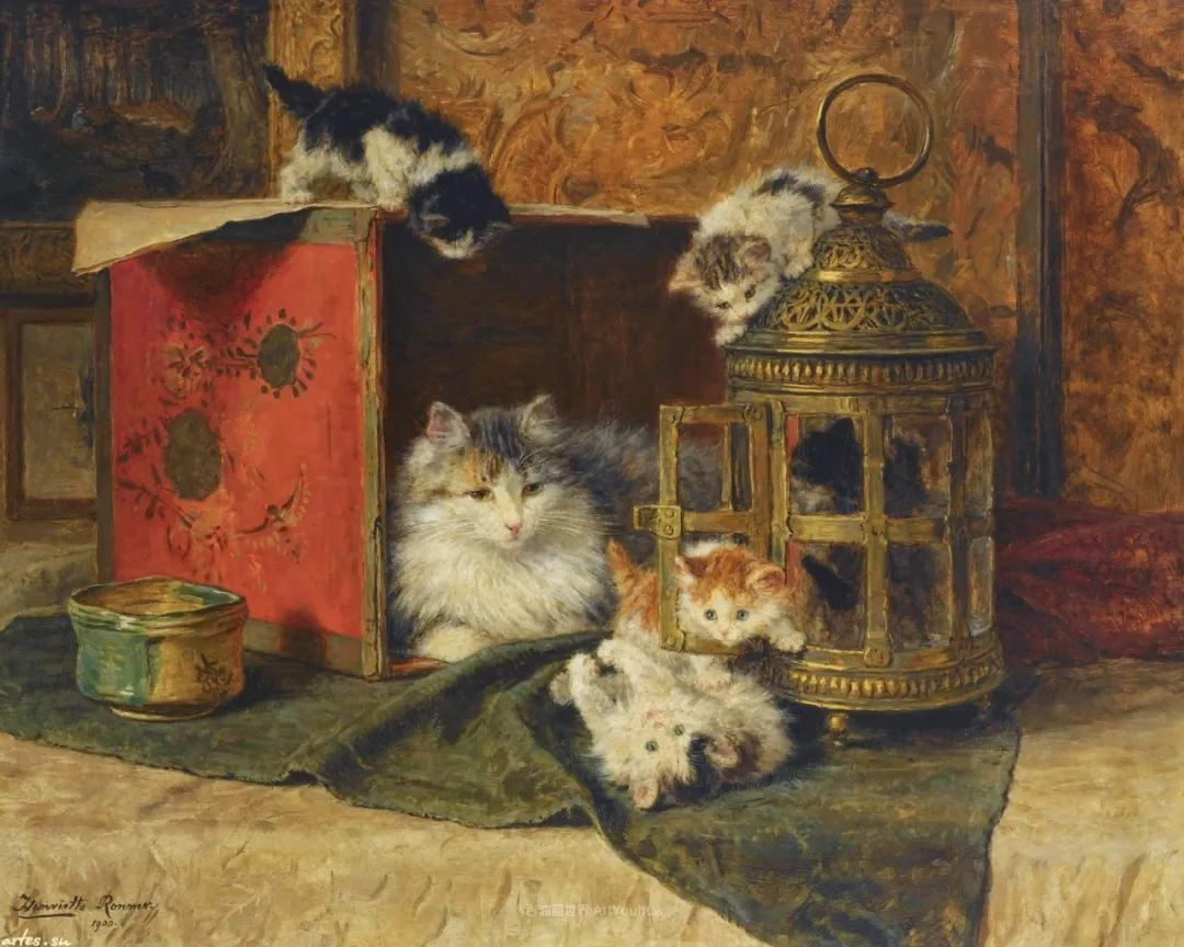 100年前她画了超多猫,姿态万千,惟妙惟肖插图109