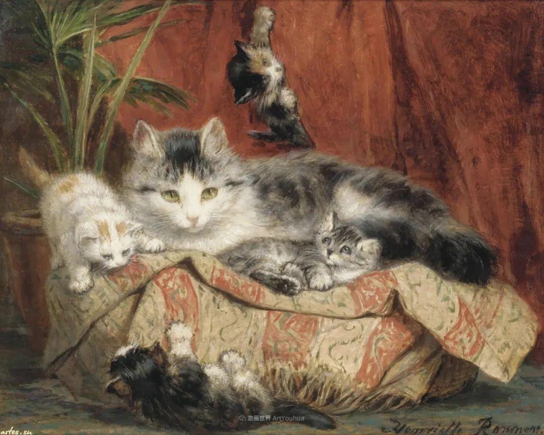 100年前她画了超多猫,姿态万千,惟妙惟肖插图119