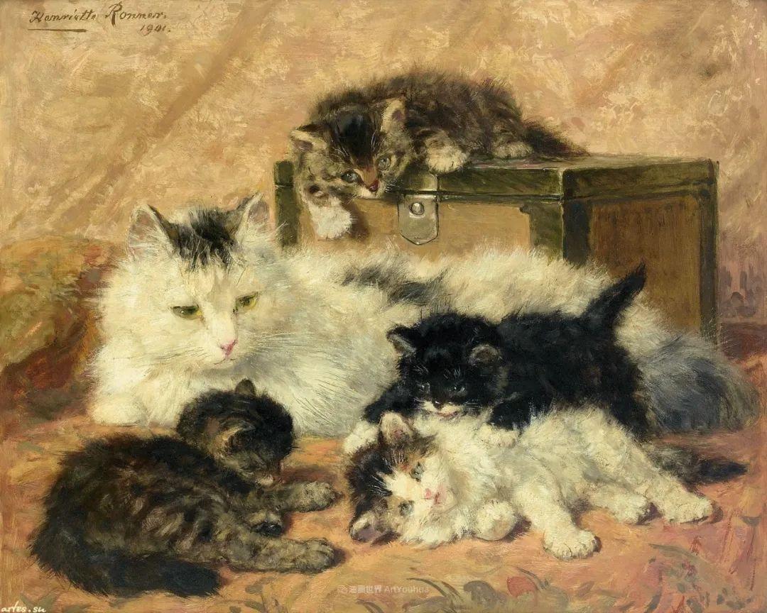 100年前她画了超多猫,姿态万千,惟妙惟肖插图125