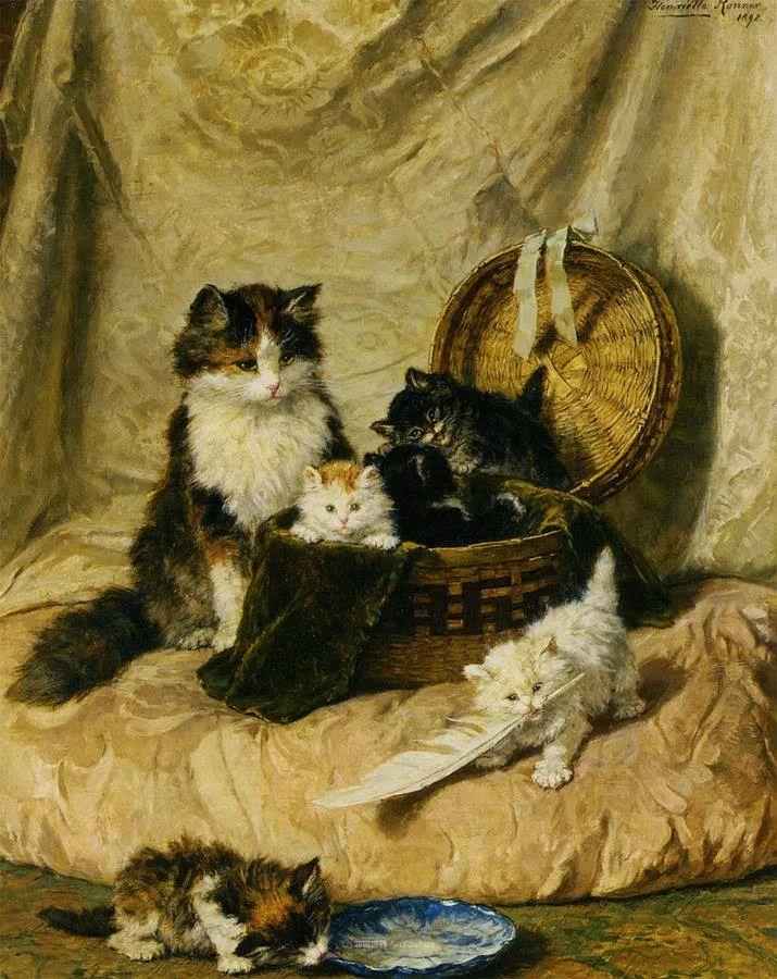 100年前她画了超多猫,姿态万千,惟妙惟肖插图131