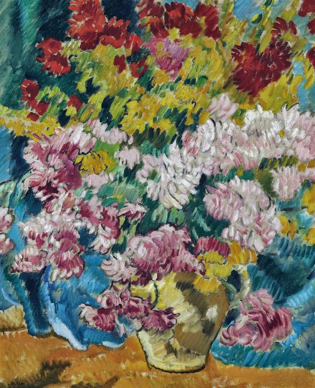 笔触粗犷,色彩令人陶醉,高清花卉作品插图27
