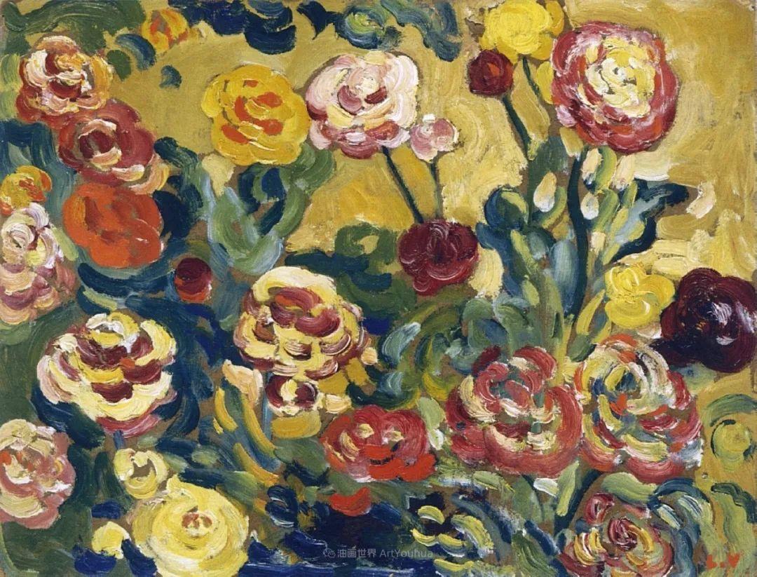 笔触粗犷,色彩令人陶醉,高清花卉作品插图47