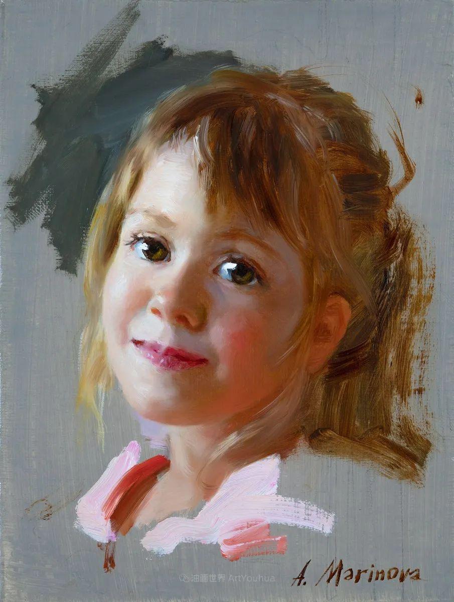 花卉与人物肖像,俄罗斯女画家安娜·玛丽诺娃插图1