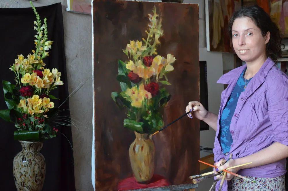 花卉与人物肖像,俄罗斯女画家安娜·玛丽诺娃插图5