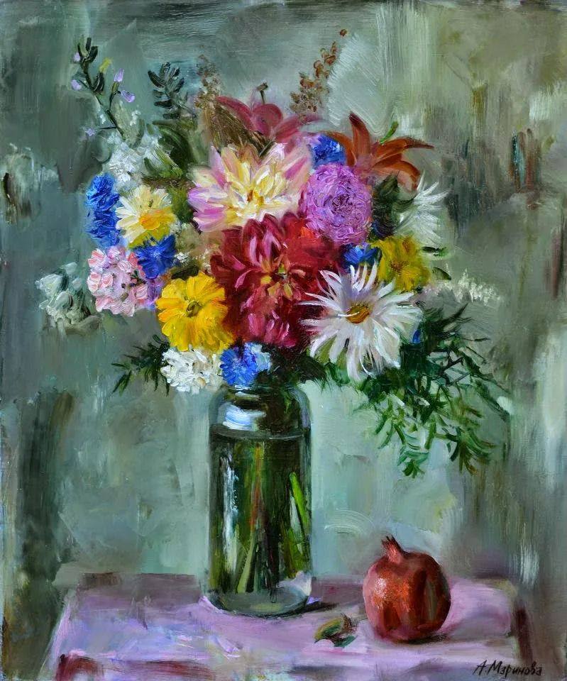 花卉与人物肖像,俄罗斯女画家安娜·玛丽诺娃插图7