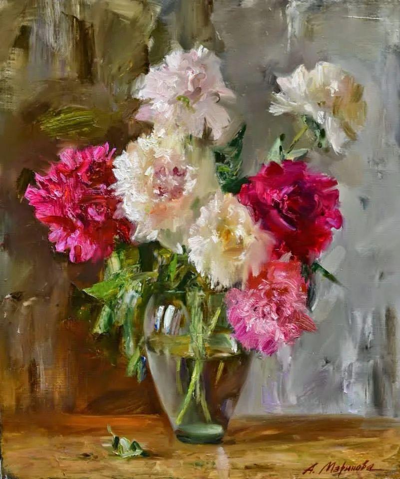 花卉与人物肖像,俄罗斯女画家安娜·玛丽诺娃插图9