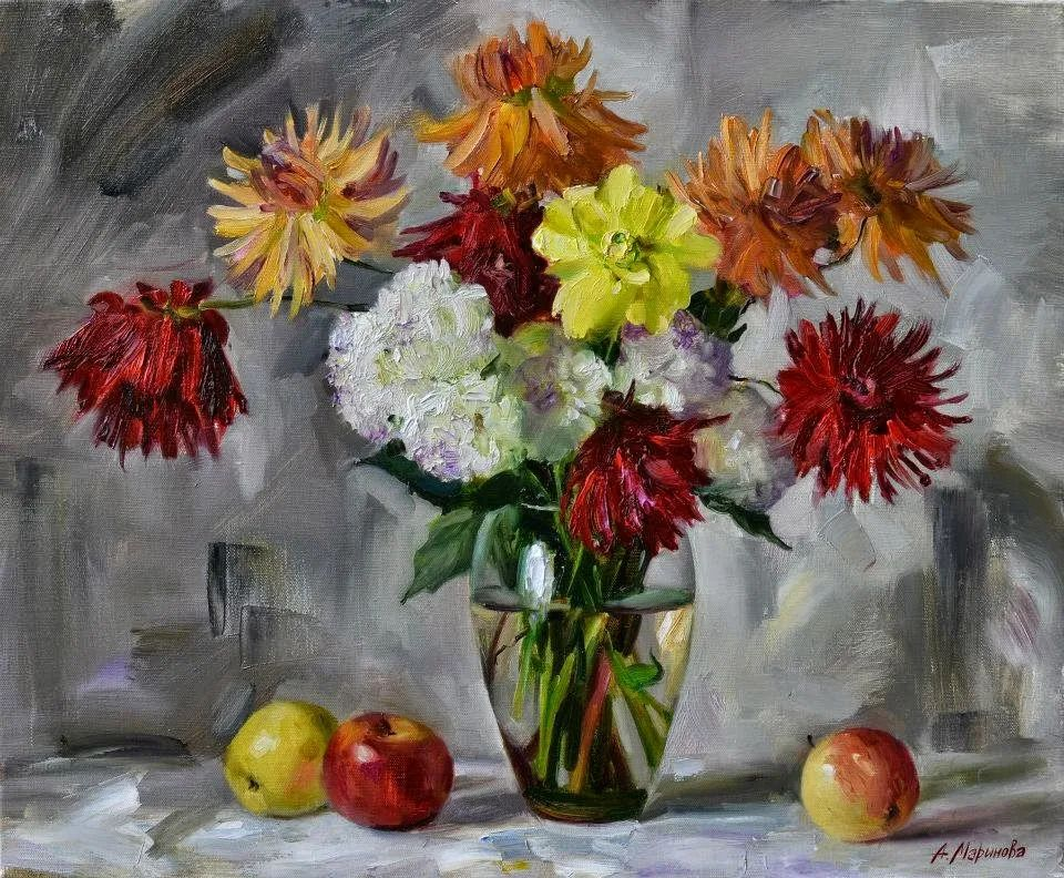 花卉与人物肖像,俄罗斯女画家安娜·玛丽诺娃插图11