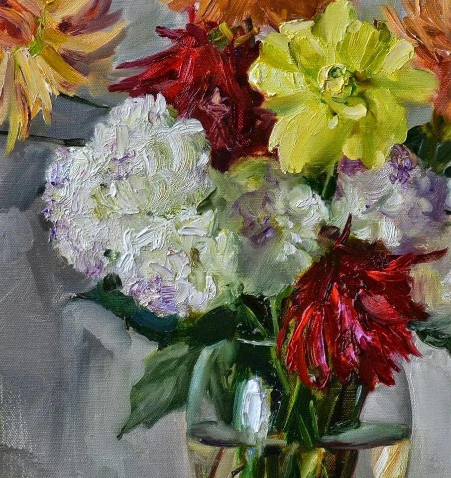 花卉与人物肖像,俄罗斯女画家安娜·玛丽诺娃插图13