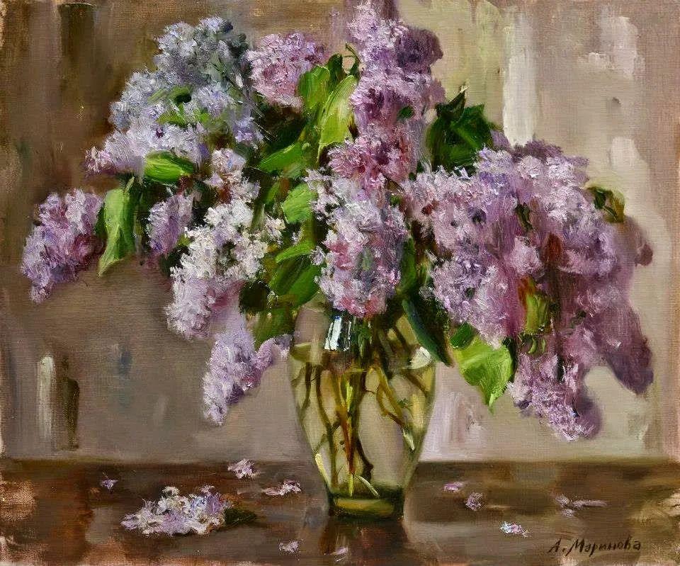 花卉与人物肖像,俄罗斯女画家安娜·玛丽诺娃插图17