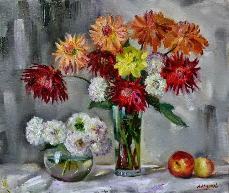 花卉与人物肖像,俄罗斯女画家安娜·玛丽诺娃插图19