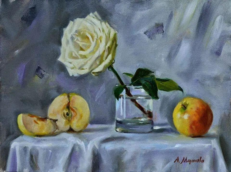 花卉与人物肖像,俄罗斯女画家安娜·玛丽诺娃插图25