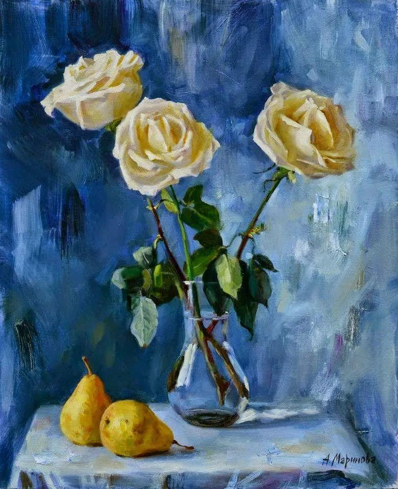 花卉与人物肖像,俄罗斯女画家安娜·玛丽诺娃插图31