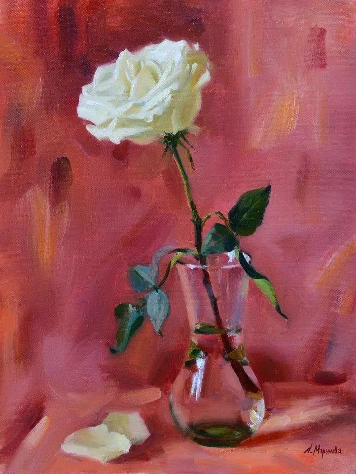 花卉与人物肖像,俄罗斯女画家安娜·玛丽诺娃插图33