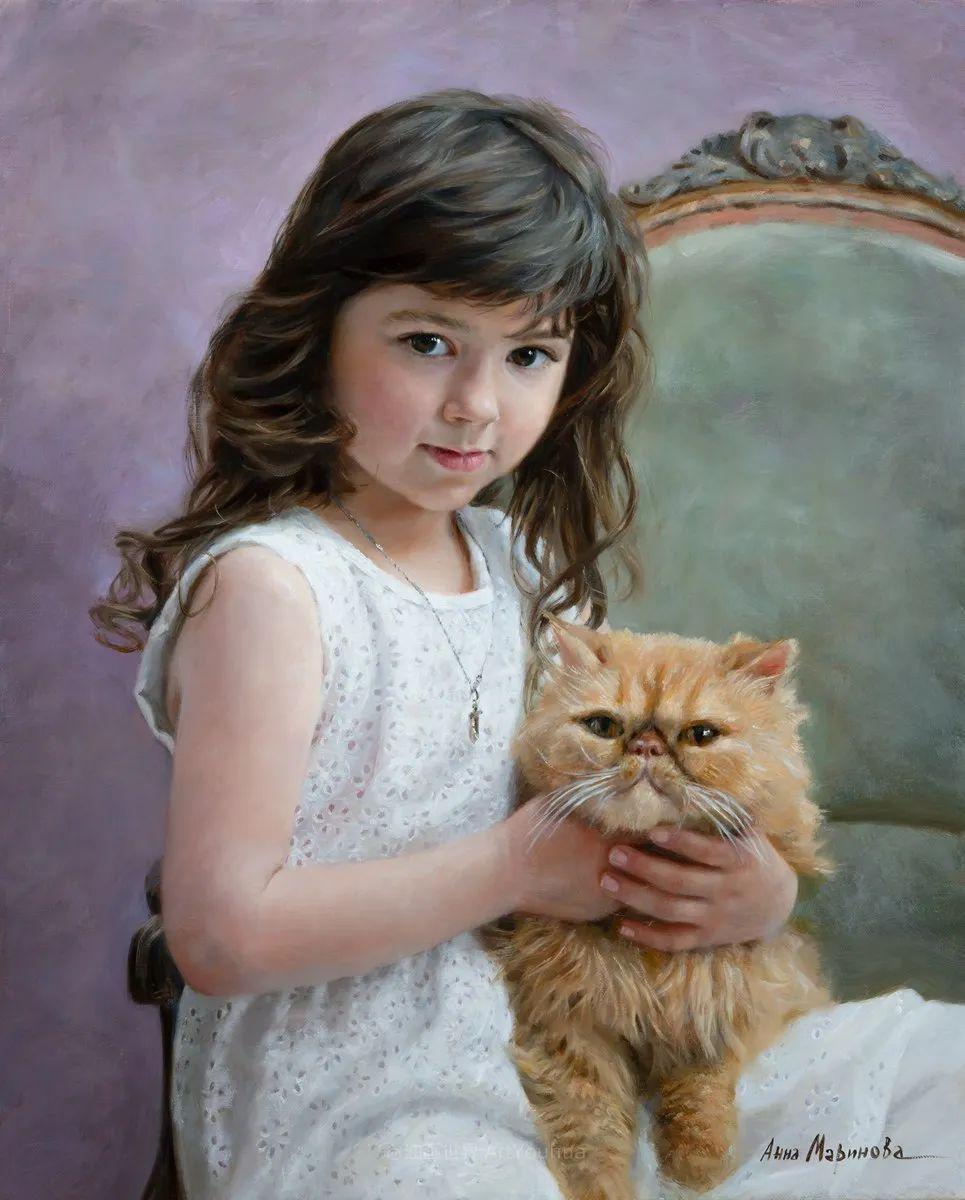 花卉与人物肖像,俄罗斯女画家安娜·玛丽诺娃插图37