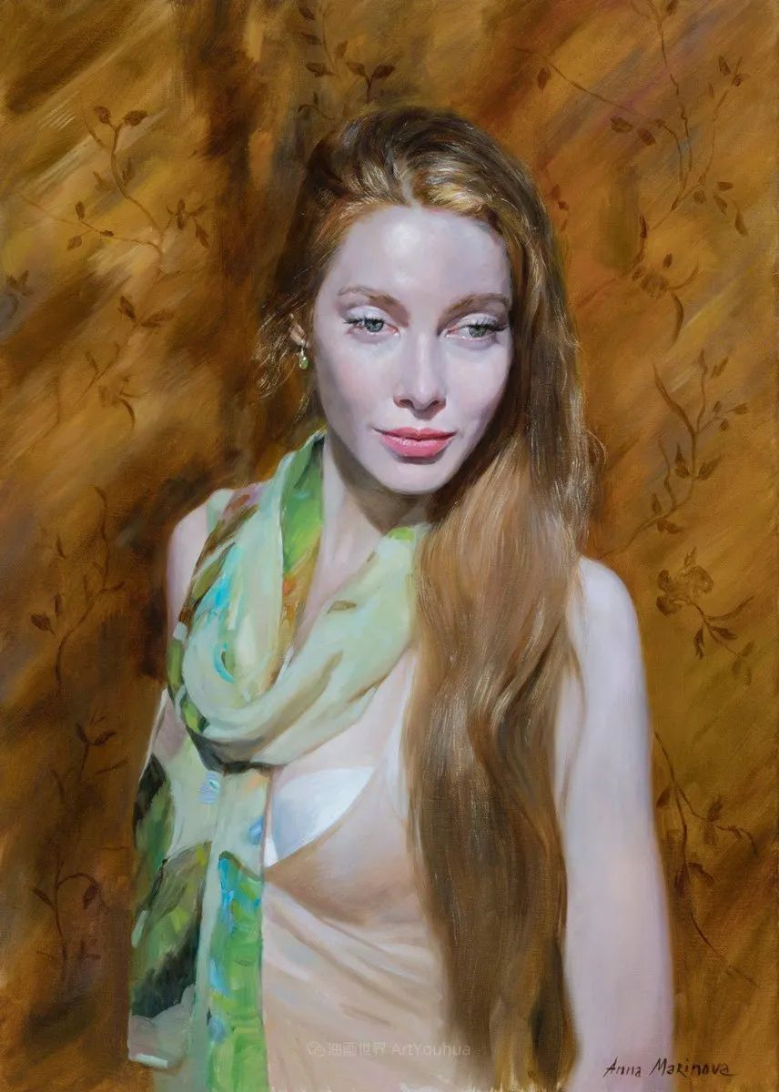 花卉与人物肖像,俄罗斯女画家安娜·玛丽诺娃插图41