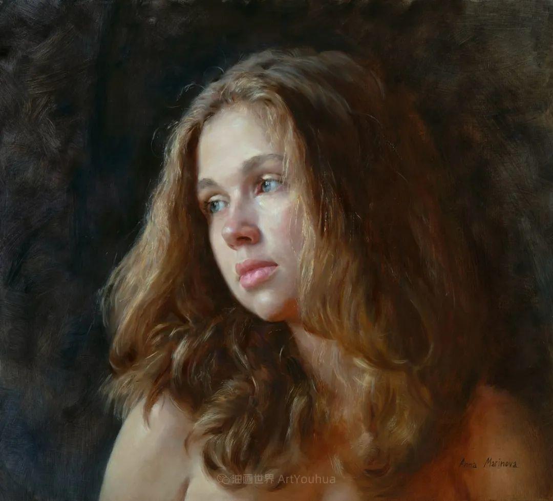 花卉与人物肖像,俄罗斯女画家安娜·玛丽诺娃插图45