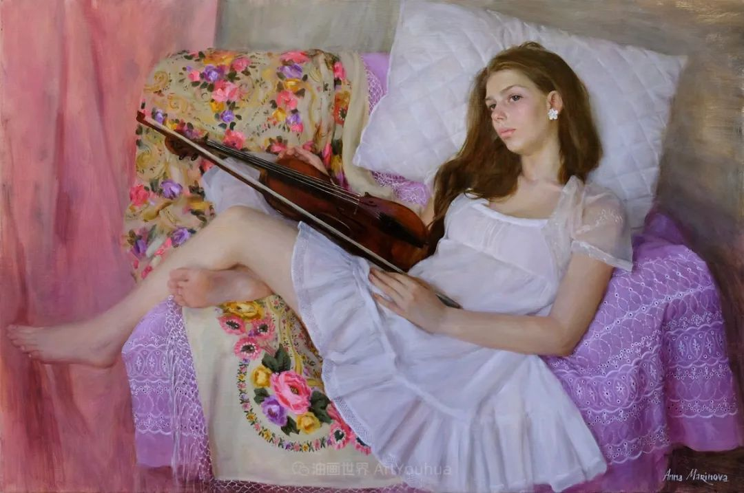 花卉与人物肖像,俄罗斯女画家安娜·玛丽诺娃插图47