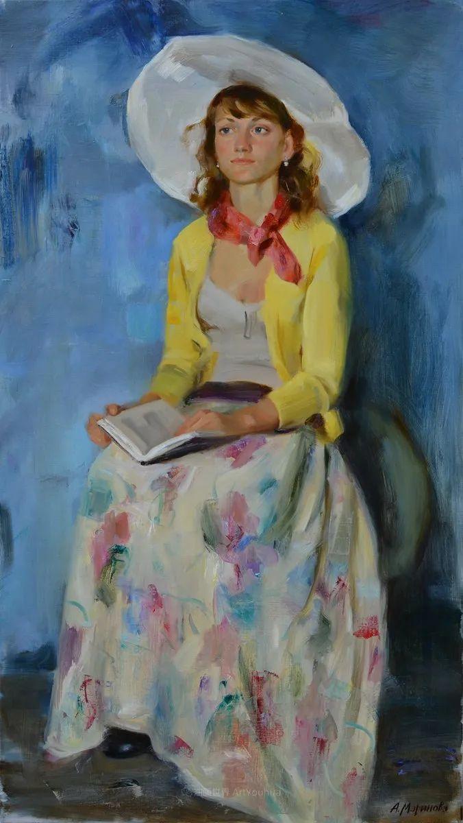 花卉与人物肖像,俄罗斯女画家安娜·玛丽诺娃插图51