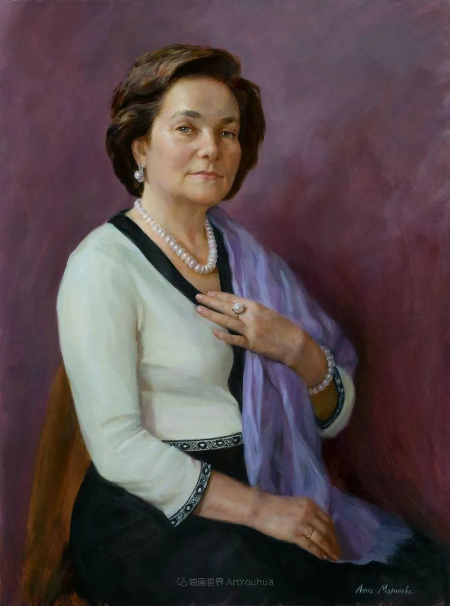 花卉与人物肖像,俄罗斯女画家安娜·玛丽诺娃插图55