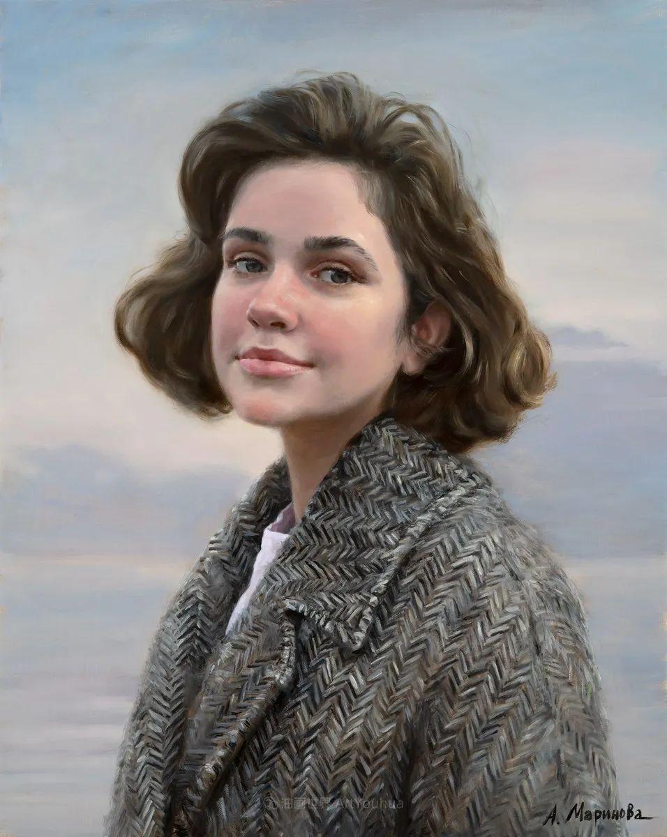 花卉与人物肖像,俄罗斯女画家安娜·玛丽诺娃插图57