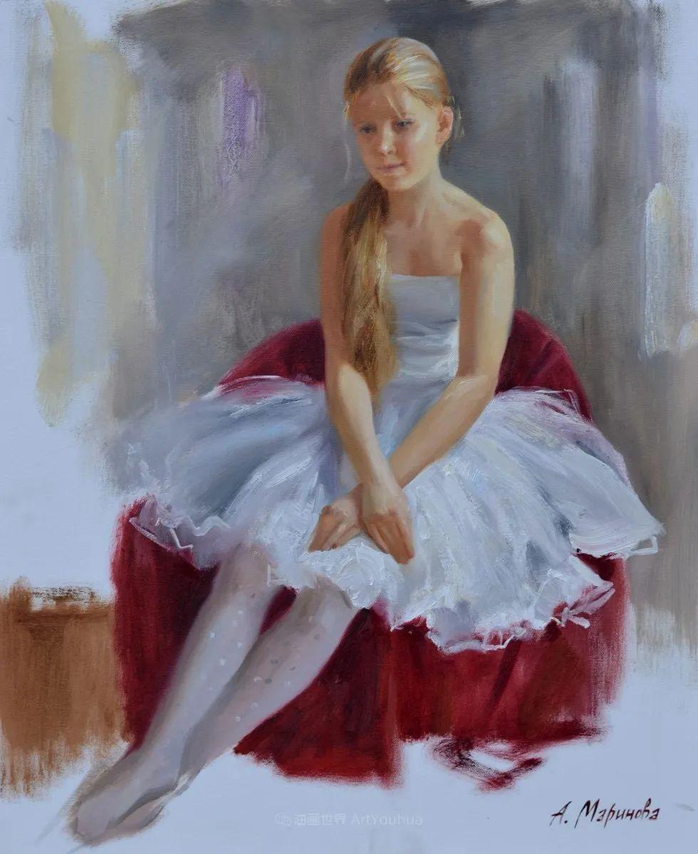 花卉与人物肖像,俄罗斯女画家安娜·玛丽诺娃插图59