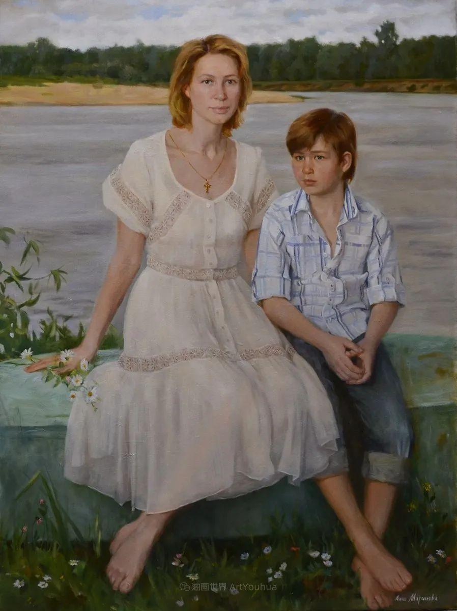 花卉与人物肖像,俄罗斯女画家安娜·玛丽诺娃插图61