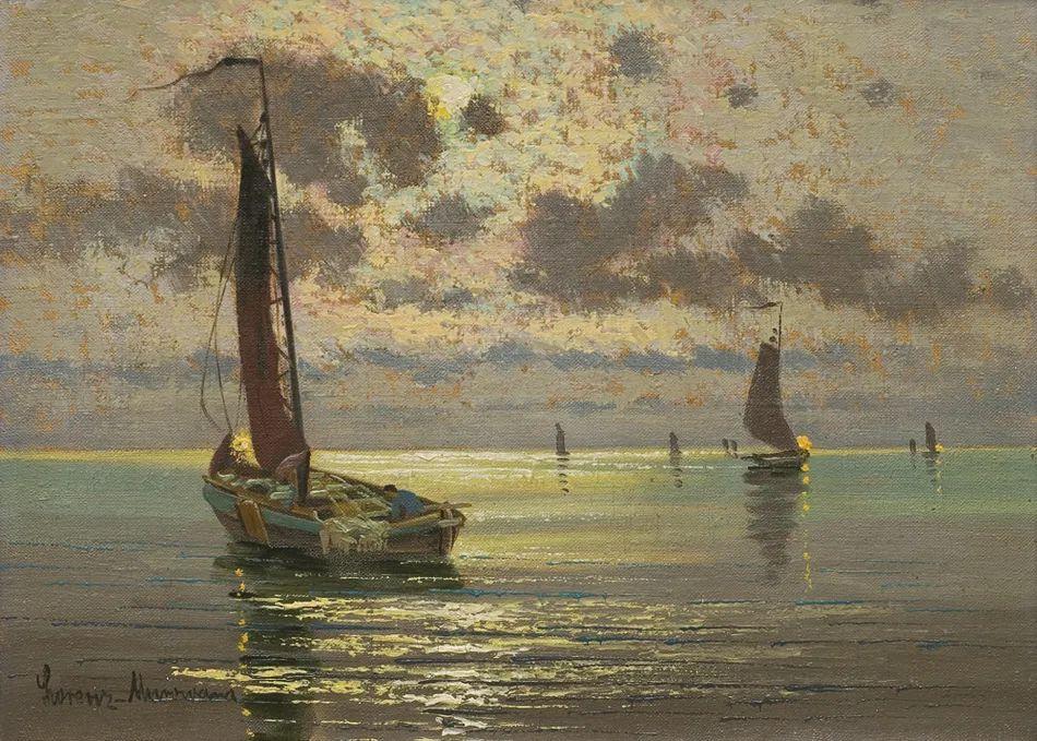 海景里的光,德国画家恩斯特·莫洛瓦纳插图