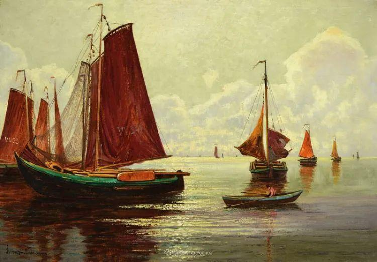 海景里的光,德国画家恩斯特·莫洛瓦纳插图13