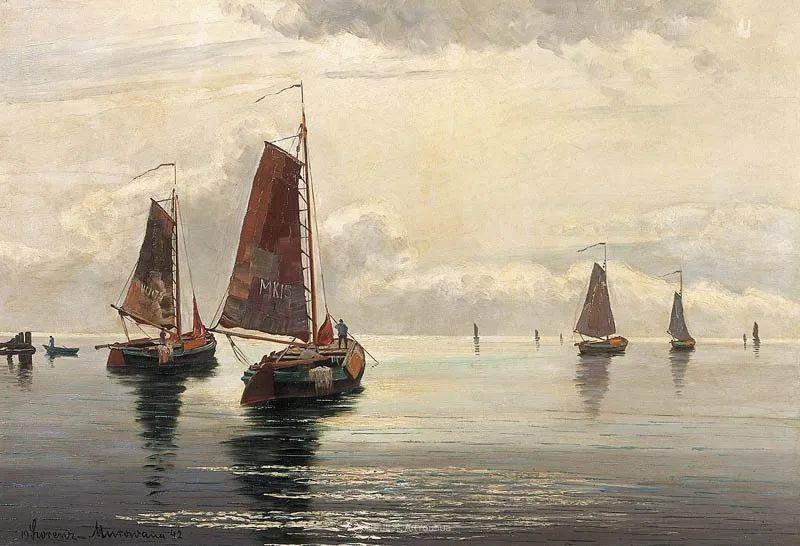 海景里的光,德国画家恩斯特·莫洛瓦纳插图14