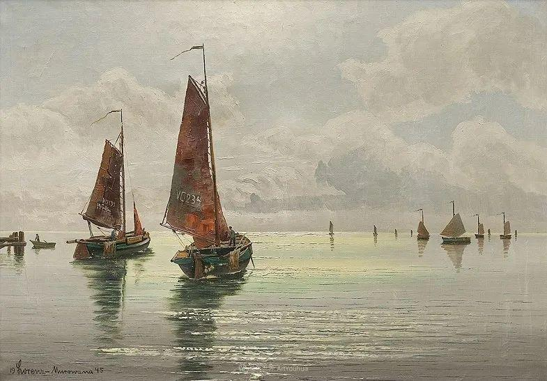 海景里的光,德国画家恩斯特·莫洛瓦纳插图15