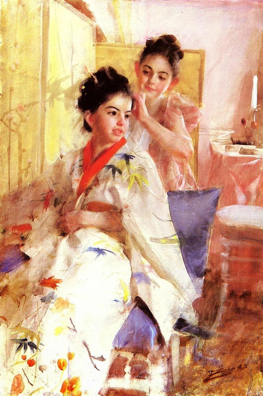 他为多位总统/国王画过肖像,瑞典画家安德斯·佐恩插图9