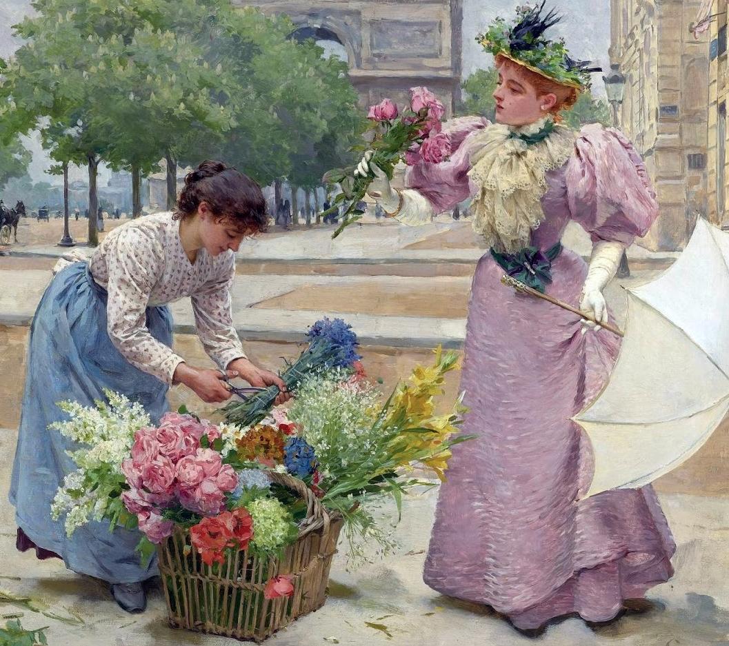 100年多前,她们是这样摆摊卖花的,好美的画面!插图4