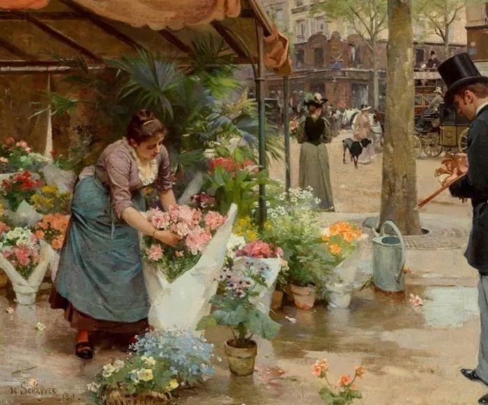 100年多前,她们是这样摆摊卖花的,好美的画面!插图37