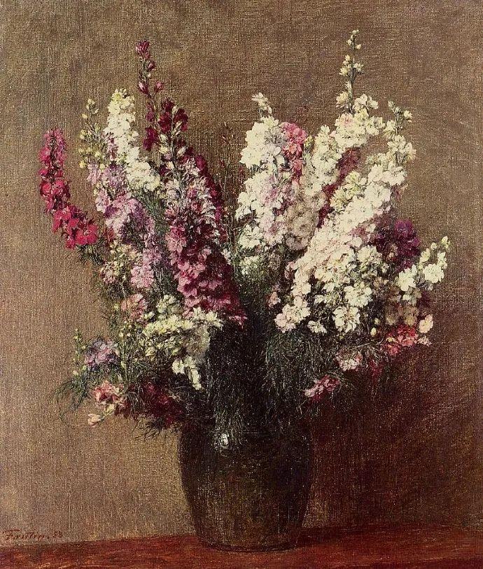 笔触细致,朴实写实,拉图尔花卉作品欣赏插图1