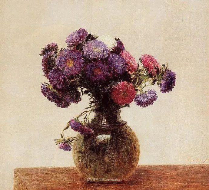 笔触细致,朴实写实,拉图尔花卉作品欣赏插图118
