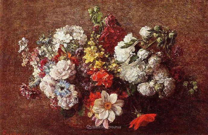 笔触细致,朴实写实,拉图尔花卉作品欣赏插图148